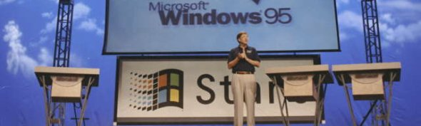 Bill Gates apresentando o Windows 95.