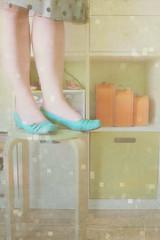 Bench Monday | New Shelves Edition (daisy plus three) Tags: blue black texture ikea polkadotskirt expedit anniversarypresent aquashoes benchmonday bylesbrumes newshelvesedition