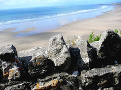 . (Tasmin_Bahia) Tags: blue sea plants brown sun white fern green beach nature water outside grey sand waves peace stones warmth peaceful sunny frothy stonewall ripples