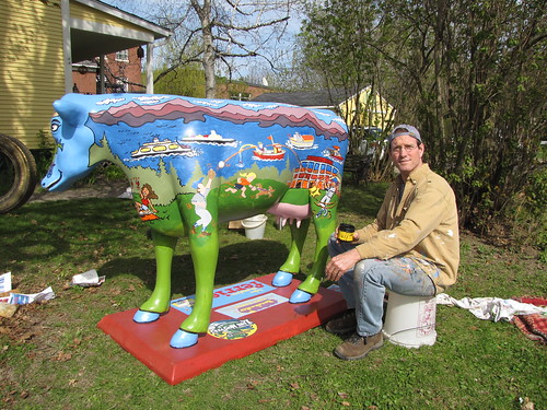 Marc Hughes and his cow