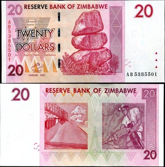 ZIMBABWE 20 DOLLARS 2007