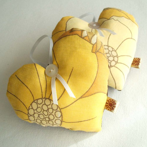vintage fabric hearts in golden yellow