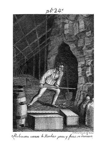 014- Robinson picando la roca para fabricar su casa