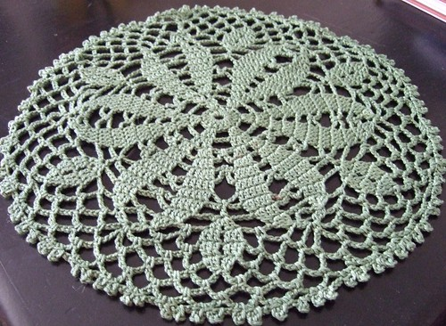 green doily ironed