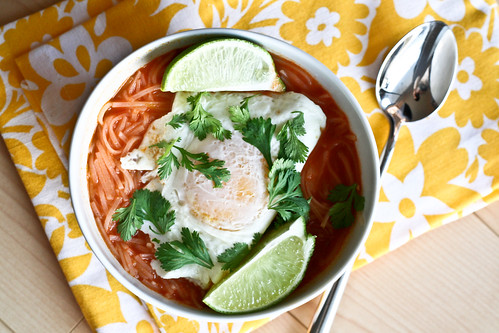 Thai Curry Lime Noodle Soup w/Fried Egg
