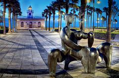 Faro de Roquetas de Mar (dleiva) Tags: espaa costa color architecture de faro noche mar andaluca spain arquitectura europa europe mediterraneo playa escultura andalusia estatua almeria almera playas roquetas colorido roquetasdemar nocturnidad faroderoquetas