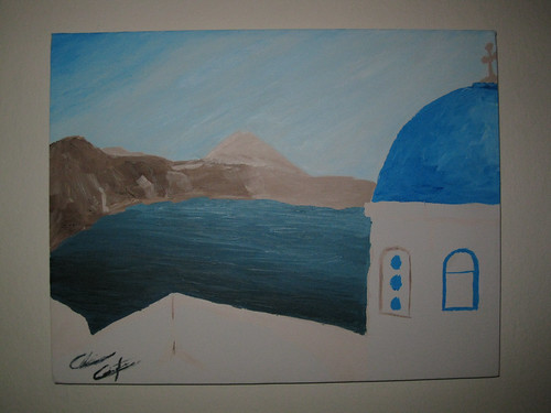 Painting of Oia, Greece