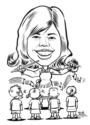 Caricature in ink of a multi-tasker
