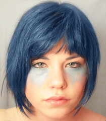 Blue hair, I could be in that Watchmen movie (horriblecherry) Tags: blue shadow portrait colour eye girl make up photoshop hair surreal backdrop dye watchmen starring