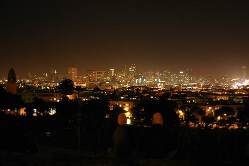 During Earth Hour: the view from Dolores Park in San Francisco