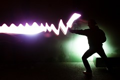 the beam of light (Patrick Brosset) Tags: longexposure pink light lightpainting black green wall night dark painting purple flash patrick tennis flashlight strobe flaubert