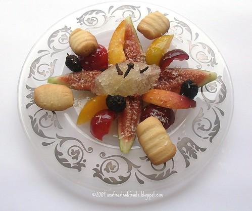 Zuppetta di frutta con gnocchetti di frolla e granita speziata