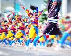 Jump!!! (Hirosaki Japan). © Glenn Waters.   (Explored).   Over 25,000 visits to this image. (Glenn Waters ぐれんin Japan.) Tags: street carnival wild sky people color love festival japan japanese flying dance jump nikon action bokeh explore aomori 日本 hirosaki matsuri japon 199 yosakoi 青森 祭り 弘前 よさこい ボケ explored ニコン nikkor85mmf14d nikkor85mm14d d700 nikond700 ぐれん glennwaters