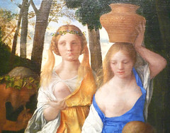 Giovanni Bellini and Titian, The Feast of the Gods detail with women