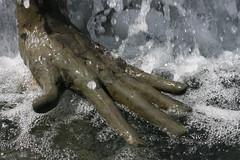 H2O Hand (aceshigh22) Tags: sculpture wet water statue hand michigan detroit bubbles spray foam