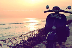 Morning sunshine, back to the good old days (khaniv13) Tags: sea beach sunshine sunrise indonesia golden nikon vespa horizon scooter abrasion centraljava pemalang d40x afs35mmf18 khaniv13 widuribeach