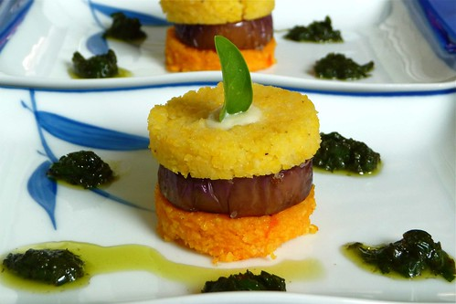 Eggplant & Polenta Stacks with Fresh Basil Sauce