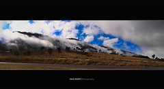 From Land to the Sky. ([ Kane ]) Tags: road trees mist grass fog clouds landscape pano australia hills qld queensland kane esk gledhill kanegledhill kanegledhillphotography