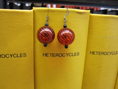 red glass ball earrings