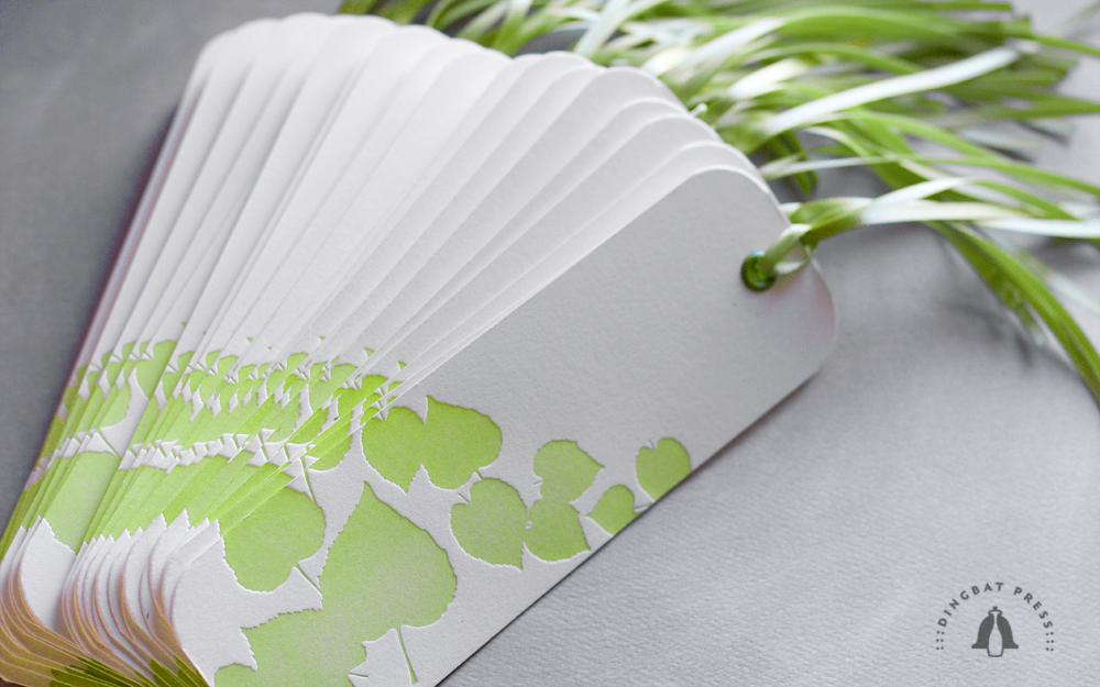 Aspen Tags, letterpress escort cards