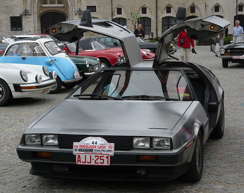 delorean back to future. With a Delorean, time machine / filmstar in Back to the Future. On the left a wonderful microcar : an Isetta with the door on the front of the car