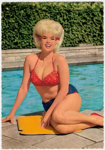 : movie, symbol, movies, cinema, goddess, mansfield, vintage, sexy, krueger, sex, jayne, postcard, jaynemansfield, film, bikini, pinup, hollywood, pool, bernard, bernardofhollywood