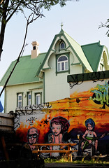 The House Behind the Pub (hadewijch) Tags: houses house building art home architecture bar graffiti iceland pub structures architectural residence edifice edifices residentialbuilding nikond90 1750mmf28