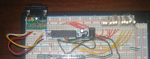 Breadboard of the LED control