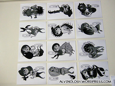 Black-and-white character designs