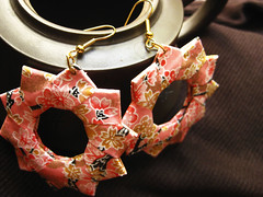 Origami Earrings - Cherry Blossom Dreamer (umeorigami) Tags: floral paper japanese origami folded papercraft washi chiyogami
