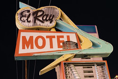 20090927 El Ray Motel (Tom Spaulding) Tags: old longexposure sign night vintage neon nevada motel plastic nv powerlines signage reno googie boomerang elray elraymotel