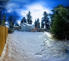 My Yard is Huge 2 (David R Preston Photography) Tags: blue sky autostitch house snow tree yard fence tracks aficionados pentaxk10d aficianados