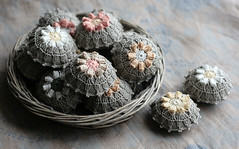 round pincushions (namolio) Tags: pink white flower grey natural handmade linen crochet cream cupcake round pincushion crocheted