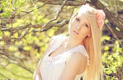 XLI (Shandi-lee) Tags: flowers portrait brown white selfportrait cute green nature girl sunshine spring bright may naturallight greeneyes blondehair headband flowerinhair crotchet flowerheadband