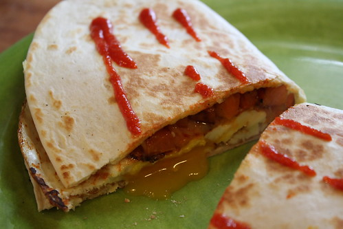 Sweet potato & egg quesadilla