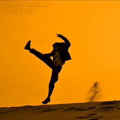 Kung Fu Bhat (Sandeep K Bhat) Tags: california silhouette death golden sand nikon y martial kick dunes arts sandeep trail valley kungfu deathvalley takeoff jumpman d90 mesquiteflatsanddunes
