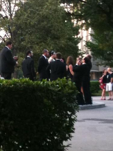 Bride and Groomsmen Taking Wedding Photos at Dupont Circle
