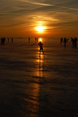 Ice skating, Westeindeplas (Maarten van den Berg) Tags: winter sunset sun ice netherlands silhouette zonsondergang iceskating aalsmeer zon ijs schaatsen longshadow wintershot reflectingsun westeinderplas winterinholland2009 nederlandschaatst