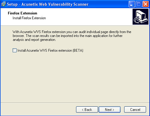 Installation of Acunetix Web Vulnerability Scanner