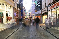 The High Street, St. Peter Port in the Late Afternoon 2 (matthieuperry) Tags: christmas xmas blur retail town commerce shops guernsey blurs slowshutterspeed stpeterport