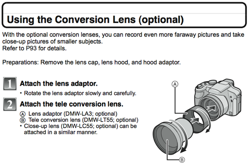 Using Conversion Lenses, as referenced on page 120 of the FZ28 Manual