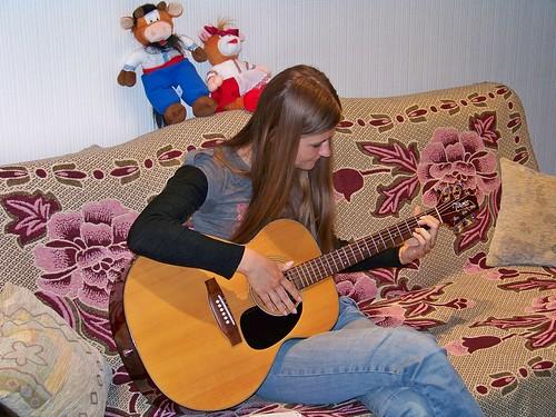Nastya practicing