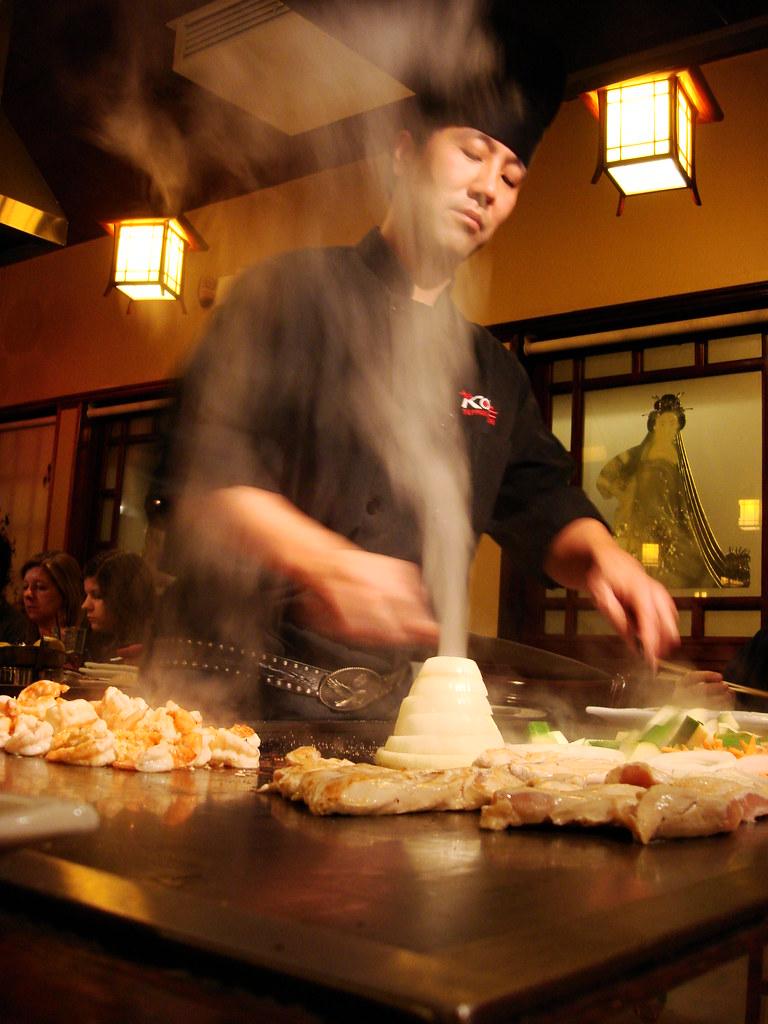 Teppan Japanese Cook at KOBE SteakHouse in Tustin CA.