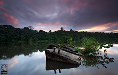 Green Hells (Yoann Rigolleau ( busy , busy )) Tags: longexposure light color green nature water photoshop canon wonderful river landscape photo aperture hell dream canon5d fabulous paysage barge guyane younglings 973 oyak roura singhray yoannrigolleau