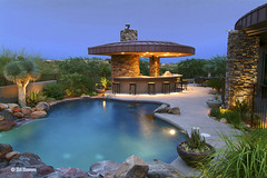Outdoor kitchen and pool (cholla75) Tags: lighting foothills pool realestate tucson dusk archive catalinamountains inspiredbylove anawesomeshot goldstaraward beyep