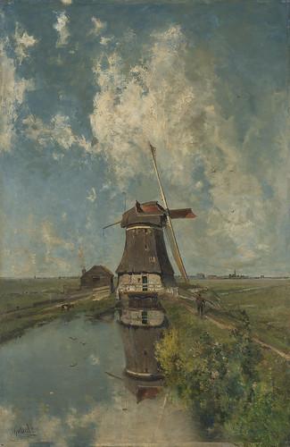 En el mes de julio_Un molino de viento sobre un polder_Constant Gabriel