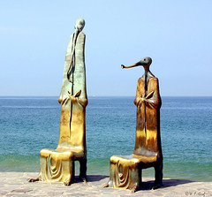 Along the Malecon in Puerto Vallarta, Mexico (BillGraf) Tags: bronze mexico seawall fantasy malecon baja puertovallarta statuary whimsical mexicanriviera aplusphoto malecon10