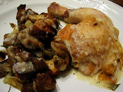 Roast Chicken with Pan Gravy and Fennel and Sourdough Dressing