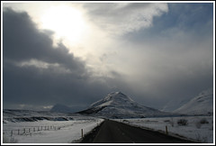 The road to the light (joningic) Tags: road winter light sky sun snow nature clouds iceland sunny hrgrdalur aplusphoto