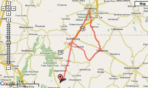 Ride to Gettysburg Map
